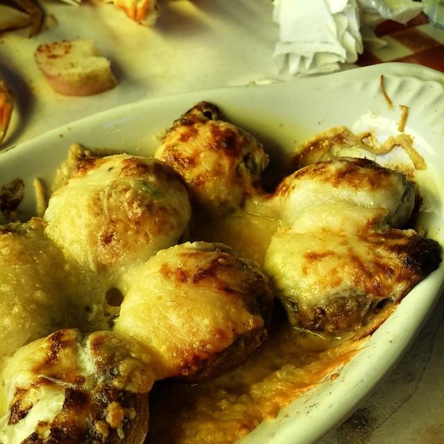 Hmmmm crab stuffed mushrooms at @thecrabpot #seattle #foodie #travel